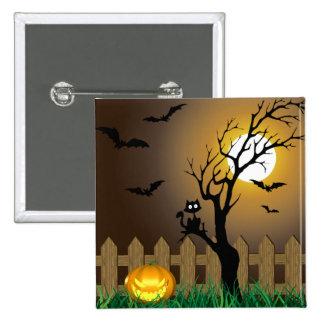 Scary Halloween Garden Scene - Button