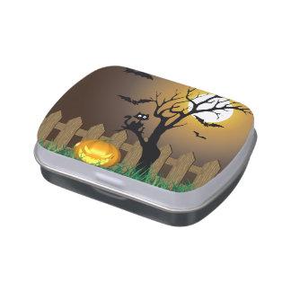 Scary Halloween Garden Scene - Candy Tin