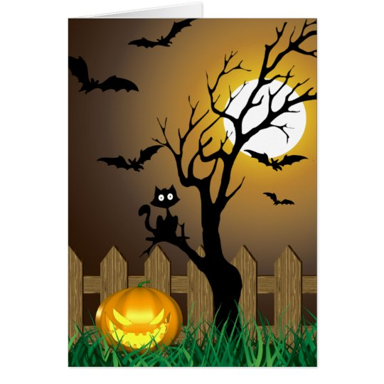 Scary Halloween Garden Scene - Greeting Card
