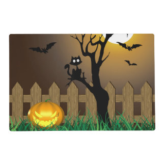 Scary Halloween Garden Scene - Laminated Placemat