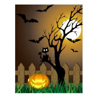 Scary Halloween Garden Scene - Postcard