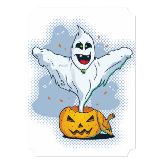 Scary Halloween Ghost with Pumpkin Card