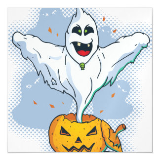 Scary Halloween Ghost with Pumpkin Magnetic Card