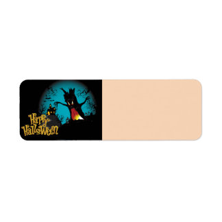 Scary Halloween Haunted house with tree Label