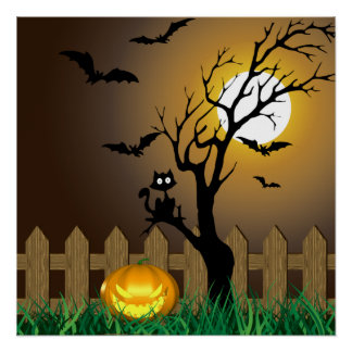 Scary Halloween Illustration - Poster