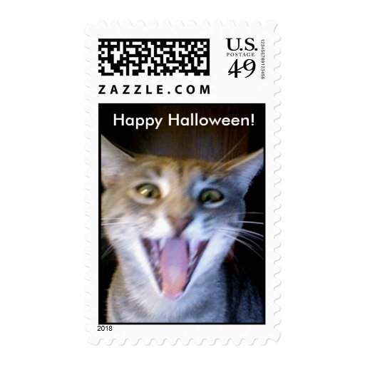 Scary Halloween Kitty Stamp