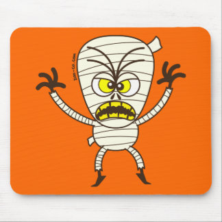 Scary Halloween Mummy Emoticon Mouse Pad