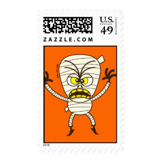 Scary Halloween Mummy Emoticon Postage Stamps