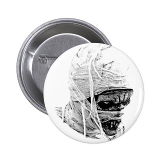 Scary Halloween Mummy. Horror and Gothic Engraving Pinback Buttons