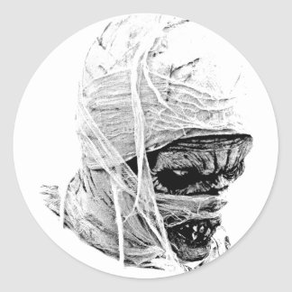 Scary Halloween Mummy. Horror and Gothic Engraving Classic Round Sticker