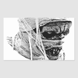 Scary Halloween Mummy. Horror and Gothic Engraving Rectangular Sticker