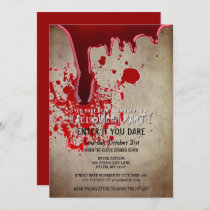 Scary Halloween Party Bloody Vintage Paper Invitation