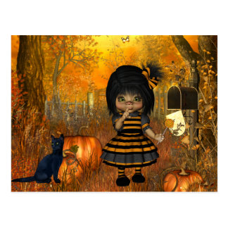 Scary Halloween Postcard with Little Girl