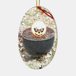 Scary Halloween Pumpkin Ceramic Ornament
