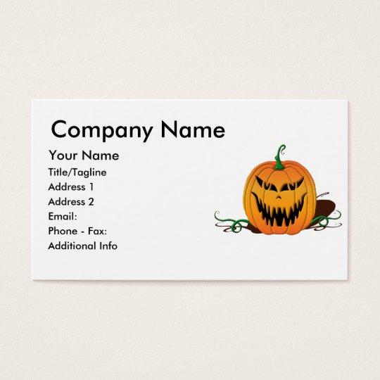 Scary Halloween Pumpkin Face Business Card