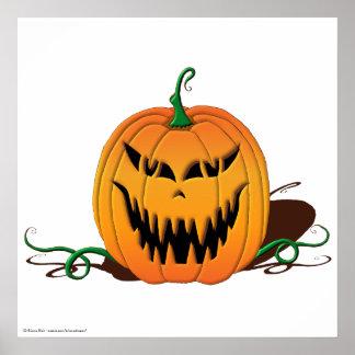 Scary Halloween Pumpkin Face Poster