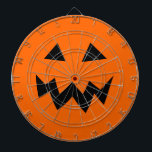 "Scary Halloween pumpkin head carving dartboard<br><div class=""desc"">Scary Halloween pumpkin head carving dartboard. Funny home decorations for Halloween party. Orange and black pumpkin face design. Jack o lantern graphic.</div>"