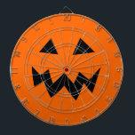 "Scary Halloween pumpkin head carving dartboard<br><div class=""desc"">Scary Halloween pumpkin head carving dartboard. Funny home decorations for Halloween party. Orange and black pumpkin face design. Jack o lantern graphic.</div>"