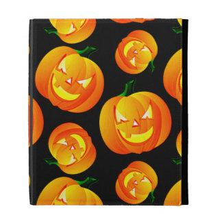Scary Halloween Pumpkin, Jack-O-Lantern, Black iPad Folio Cases