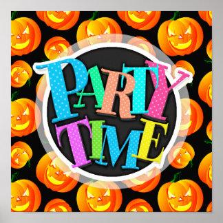 Scary Halloween Pumpkin Jack-O-Lantern Black Posters
