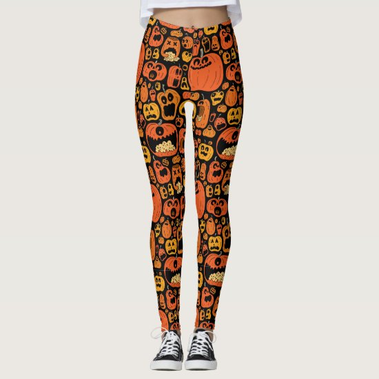 Scary Halloween Pumpkin Jack O' Lantern Leggings