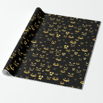 Scary Halloween Pumpkin Pattern Wrapping Paper