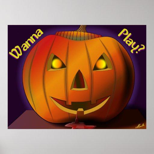 Scary Halloween Pumpkin Print