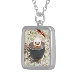 Scary Halloween Pumpkin Square Pendant Necklace