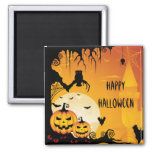 Scary Halloween Pumpkins and Full Moon 2 Inch Square Magnet