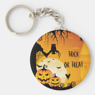Scary Halloween Pumpkins and Full Moon Basic Round Button Keychain