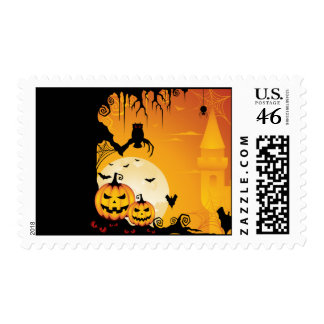 Scary Halloween Pumpkins and Full Moon Postage Stamps
