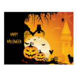 Scary Halloween Pumpkins and Full Moon Postcard