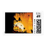 Scary Halloween Pumpkins and Full Moon Stamps