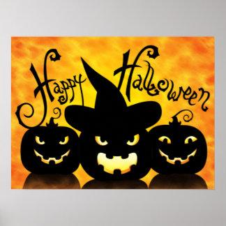 Scary Halloween Pumpkins Poster