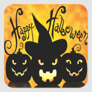 Scary Halloween Pumpkins Square Sticker