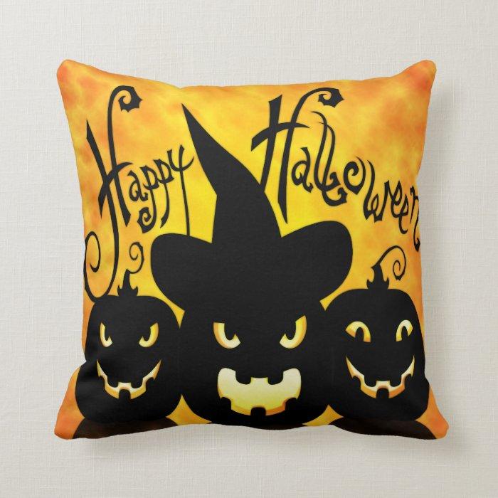 Scary Halloween Pumpkins Throw Pillow