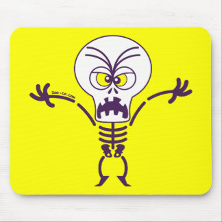 Scary Halloween Skeleton Emoticon Mouse Pad