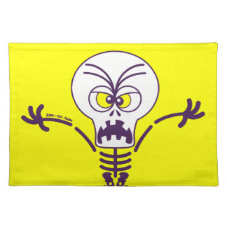 Scary Halloween Skeleton Emoticon Placemat