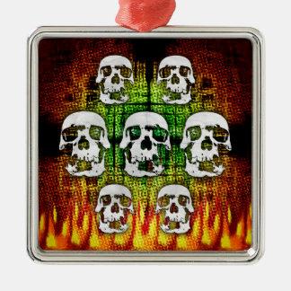 Scary Halloween Skulls Metal Ornament