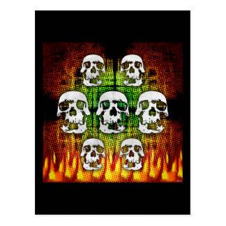 Scary Halloween Skulls Postcard