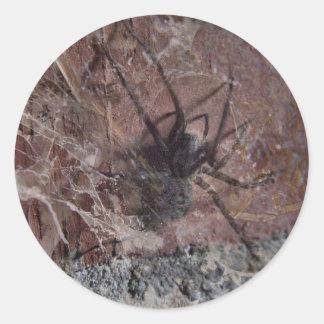 Scary Halloween Spider Round Stickers