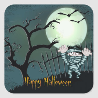 Scary Halloween Square Sticker