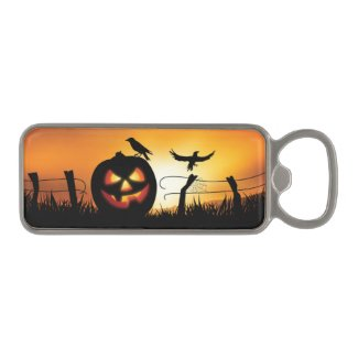 Scary Halloween Themed Background Magnetic Bottle Opener