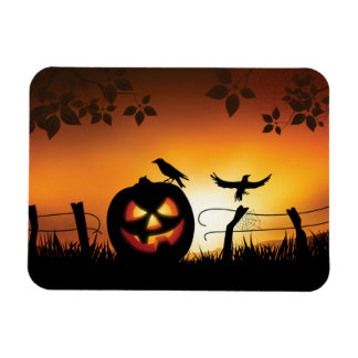 Scary Halloween Themed Background Rectangular Photo Magnet