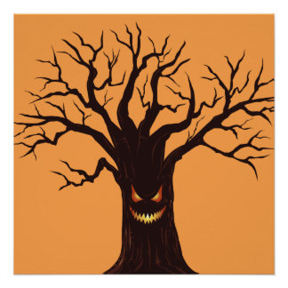 Scary Halloween Tree Face Poster
