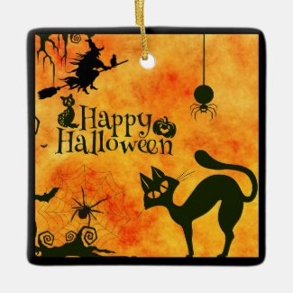 Scary Halloween Tree Home Decor Ceramic Ornament