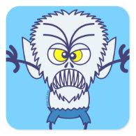 Scary Halloween Werewolf Emoticon Square Sticker