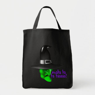 Scary Halloween Witch Grocery Tote Bag