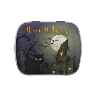 Scary Happy Halloween Scene Jelly Belly Candy Tin