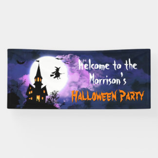 Scary Haunted Castle Flying Witch Halloween Party Banner